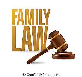 family law concept and hammer illustration design over a...