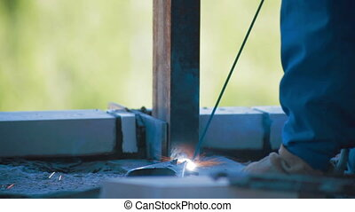 Welding process in Construction site