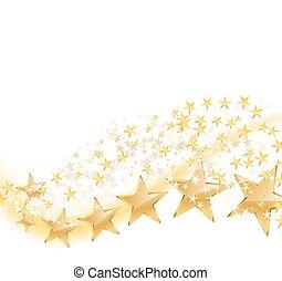 vector illustration of golden stars flying on white
