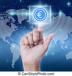 hand pressing euro sign button. business concept