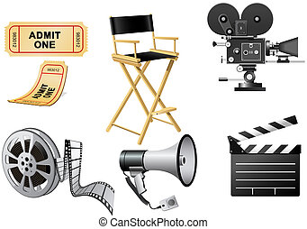 Film Industry attributes - Film Industry Equipment isolated...