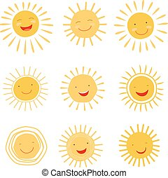 Cute hand drawn sun character vector collection - Cute hand...