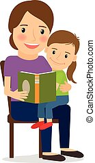 Mother and child reading book