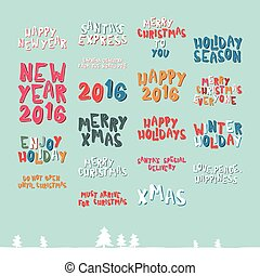 A large collection of Christmas greeting phrases in cartoon...
