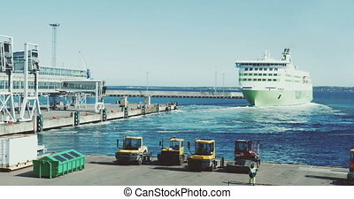 Passenger ferry sailing from the port - Cruise liner leaving...