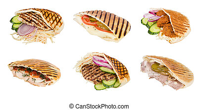 fast food meat with vegetables in pita - set arabian grilled...