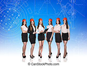 Group of business women on the blue background with...