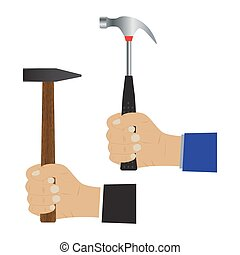 Hand with a hammer. Illustration, elements for design.