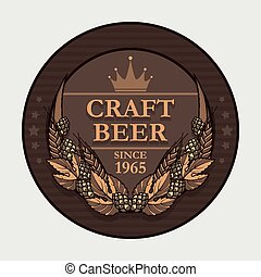 Craft beer label - Vector craft beer label decorated with...