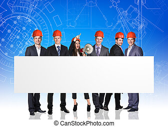 Group of business people with white board