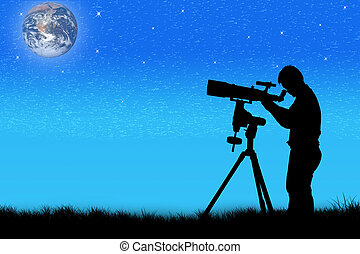 silhouette of young man looking through a telescope at night...