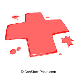 Blood Droplets - Red Symbol - A red x symbol made of...