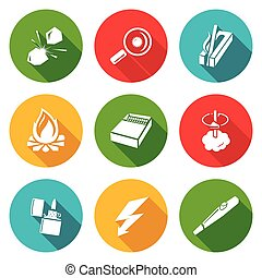 Make a fire, the fire source Icons Set. Vector Illustration....