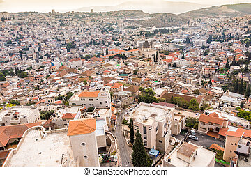 Panorama of Nazareth, Israel - Panorama of Nazareth with...