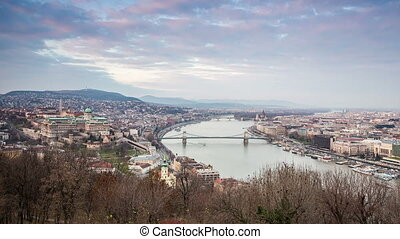 Budapest Panorama taken from Gellert's Hill, Hungary, Europe