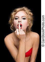 Stylish fashion blonde girl showing middle finger. isolated...