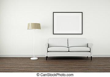 Interior Poster Frame Mock-Up. - Interior poster frame...