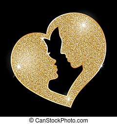 Heart of gold  - symbol, logos