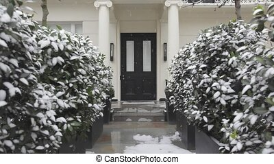 Door With Snow - Victorian House Door With Light Snow