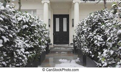 Door With Snow - Victorian House Door With Light Snow