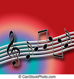 Hot Music Theme with Musical Symbols over Multicolored...