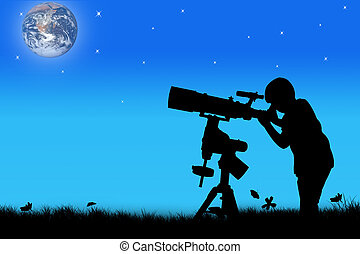 silhouette of little boy looking through a telescope at...