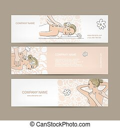 Banners design, women in spa saloon. Vector illustration