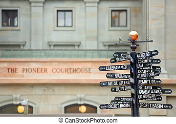 Directions to landmarks - Famous signpost with directions to...