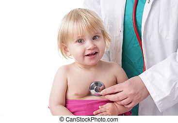 Doctor exams baby girl with stethoscope - The doctor...