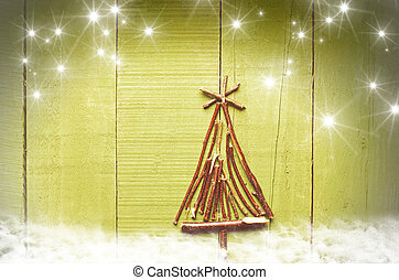 Christmas tree from wooden sticks,