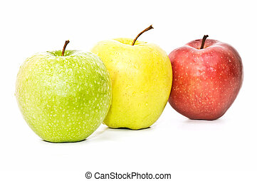 three varieties of apple