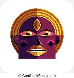Personality face colorful vector illustration made from...
