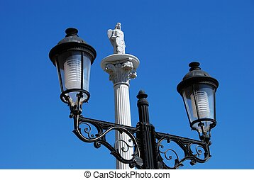 Spanish streetlight, Fuengirola - Ornate streetlight with a...