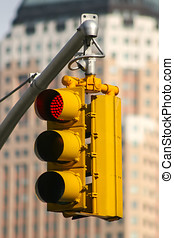 Stop sign in traffic - A close up of a semaphore with red...
