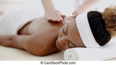 Massage On Woman Body - Masseur doing massage on woman body...