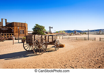 Old wooden wagon in Pioneer town - Old wooden wagon cart in...