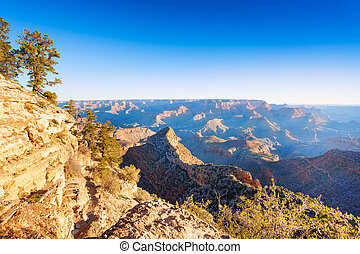 Morning contrast vie of the Grand Canyon valley and...