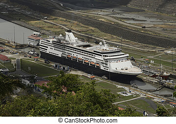 Pedro Miguel Locks in Panama Canal - Aerial view of a cruise...