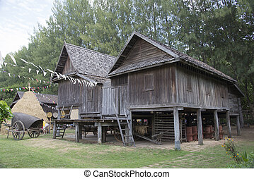 Jim Thompson Farm straw hut in the countryside - Straw hut...
