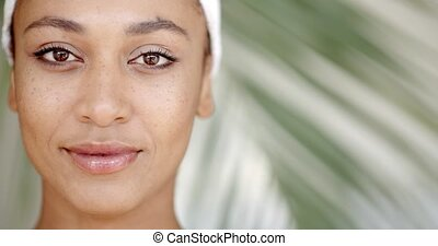 Clean Face Of A Young Woman - Face of young adult woman with...