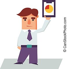 Business Man holding Graphics Cartoon Character Vector...
