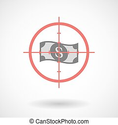 Red crosshair icon targeting a dollar bank note -...