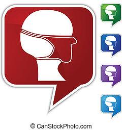 Surgical mask Speech Balloon Icon Set - Surgical mask speech...