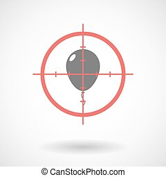 Red crosshair icon targeting a balloon - Illustration of a...
