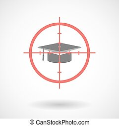 Red crosshair icon targeting a graduation cap