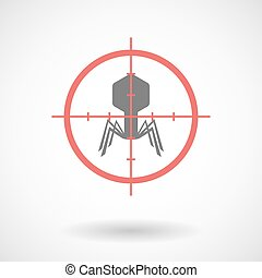 Red crosshair icon targeting a virus - Illustration of a red...