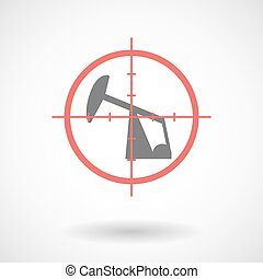 Red crosshair icon targeting a horsehead pump - Illustration...