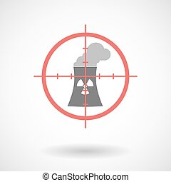 Red crosshair icon targeting a nuclear power station -...