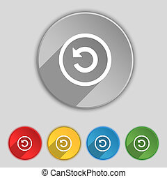 Upgrade, arrow, update icon sign Symbol on five flat buttons...