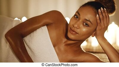 Young Girl In Spa Salon - Cute african american woman...